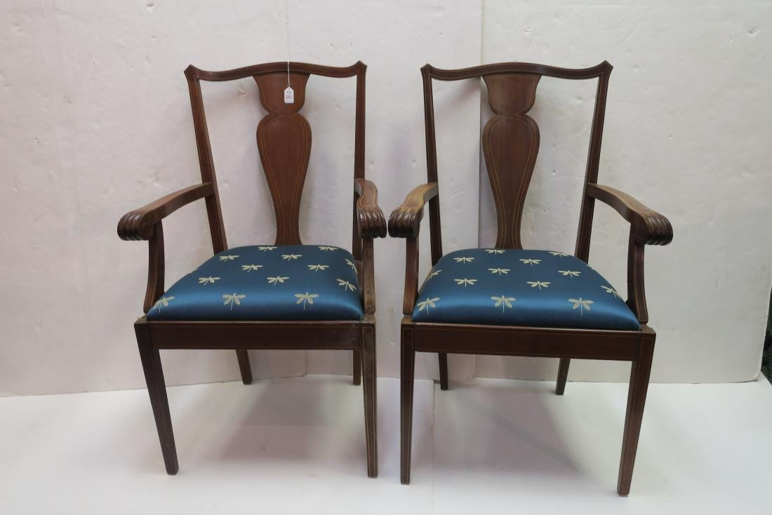 Pair of Mahogany Arm Chairs: