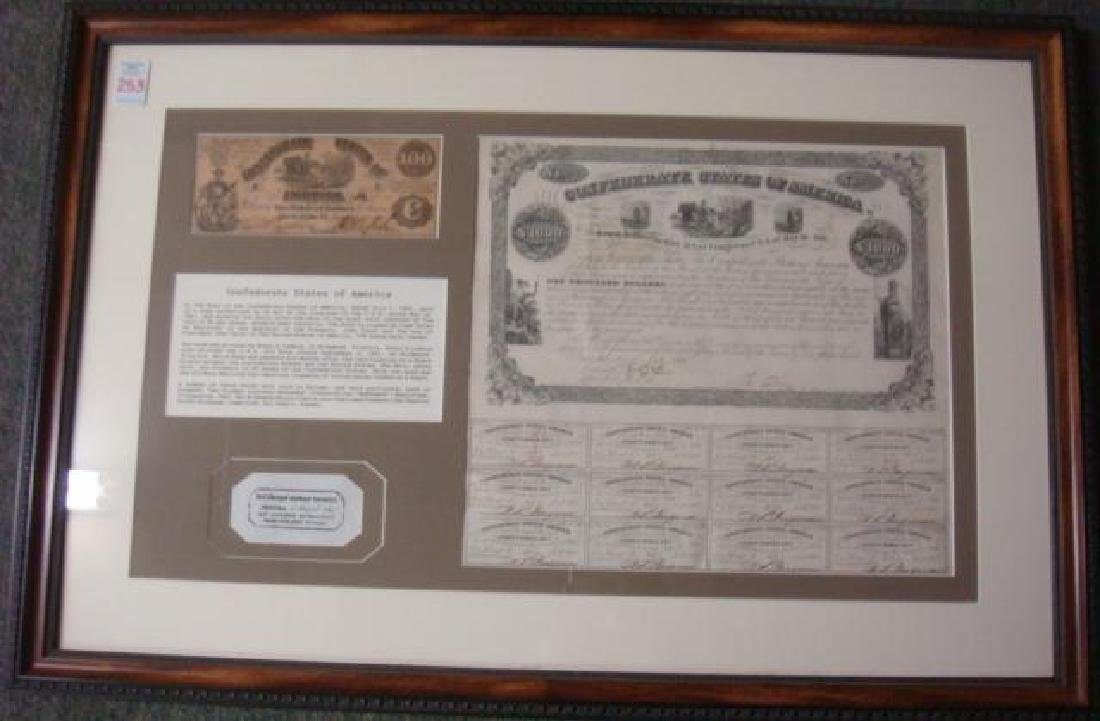 1861 $1000 CONFEDRATE STATES Bond and $100 Note: