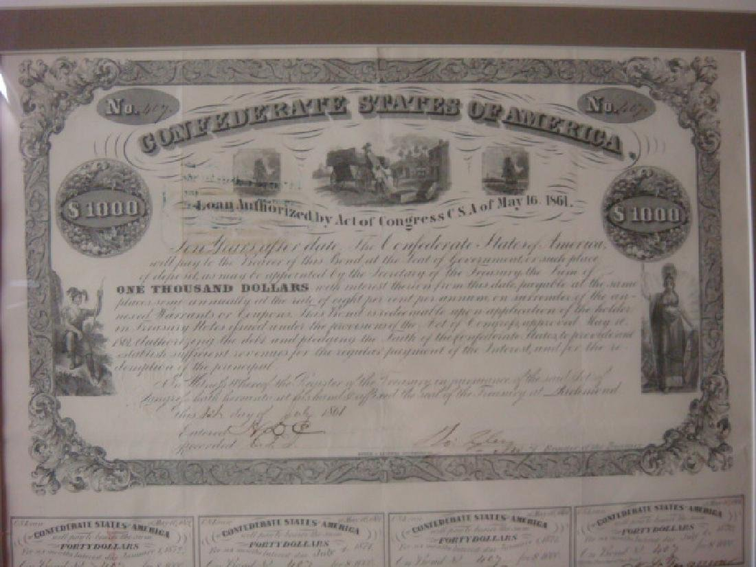 1861 $1000 CONFEDRATE STATES Bond and $100 Note: - 2