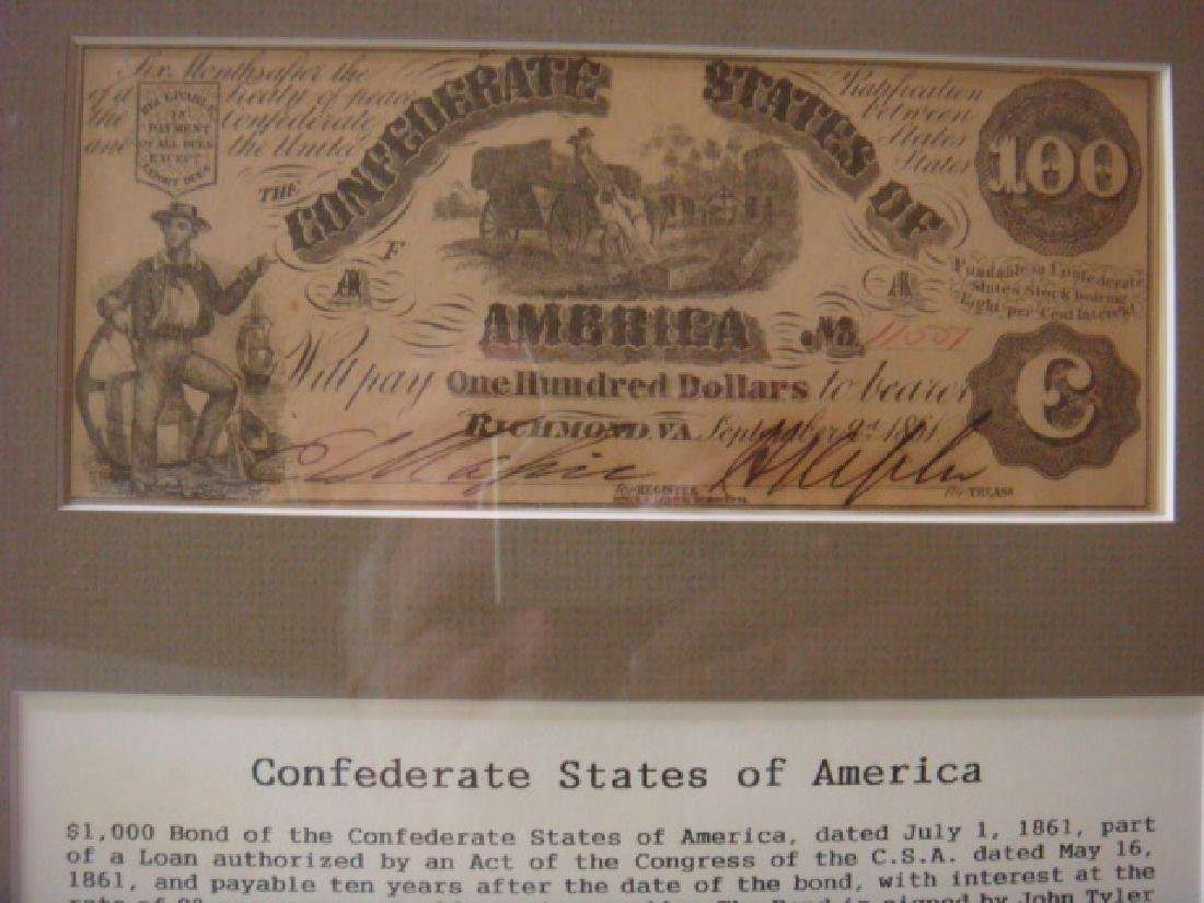 1861 $1000 CONFEDRATE STATES Bond and $100 Note: - 3
