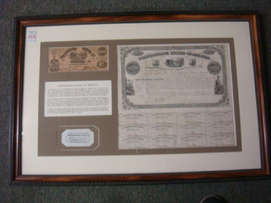 1861 $1000 CONFEDRATE STATES Bond and $100 Note: - 8