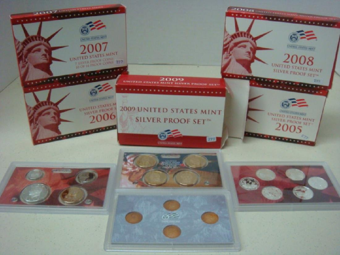 2005S-2009S US MINT SILVER PROOF SETS (5):