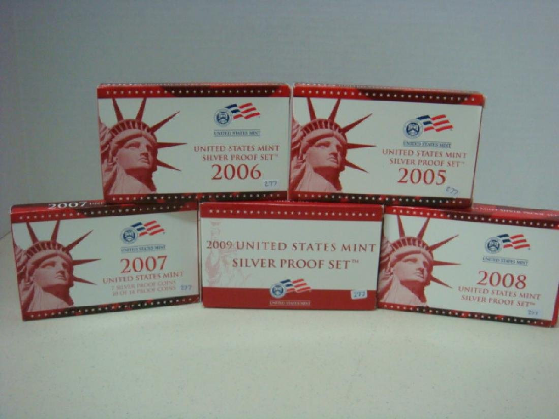 2005S-2009S US MINT SILVER PROOF SETS (5): - 3