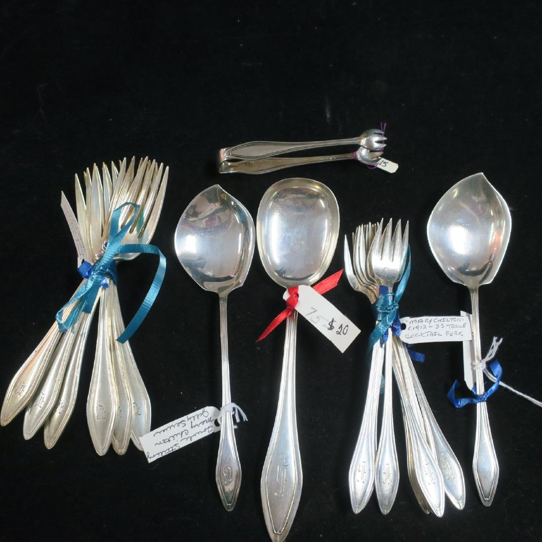 "TOWLE ""Mary Chilton"" Sterling Forks, Spoons, Tongs:"