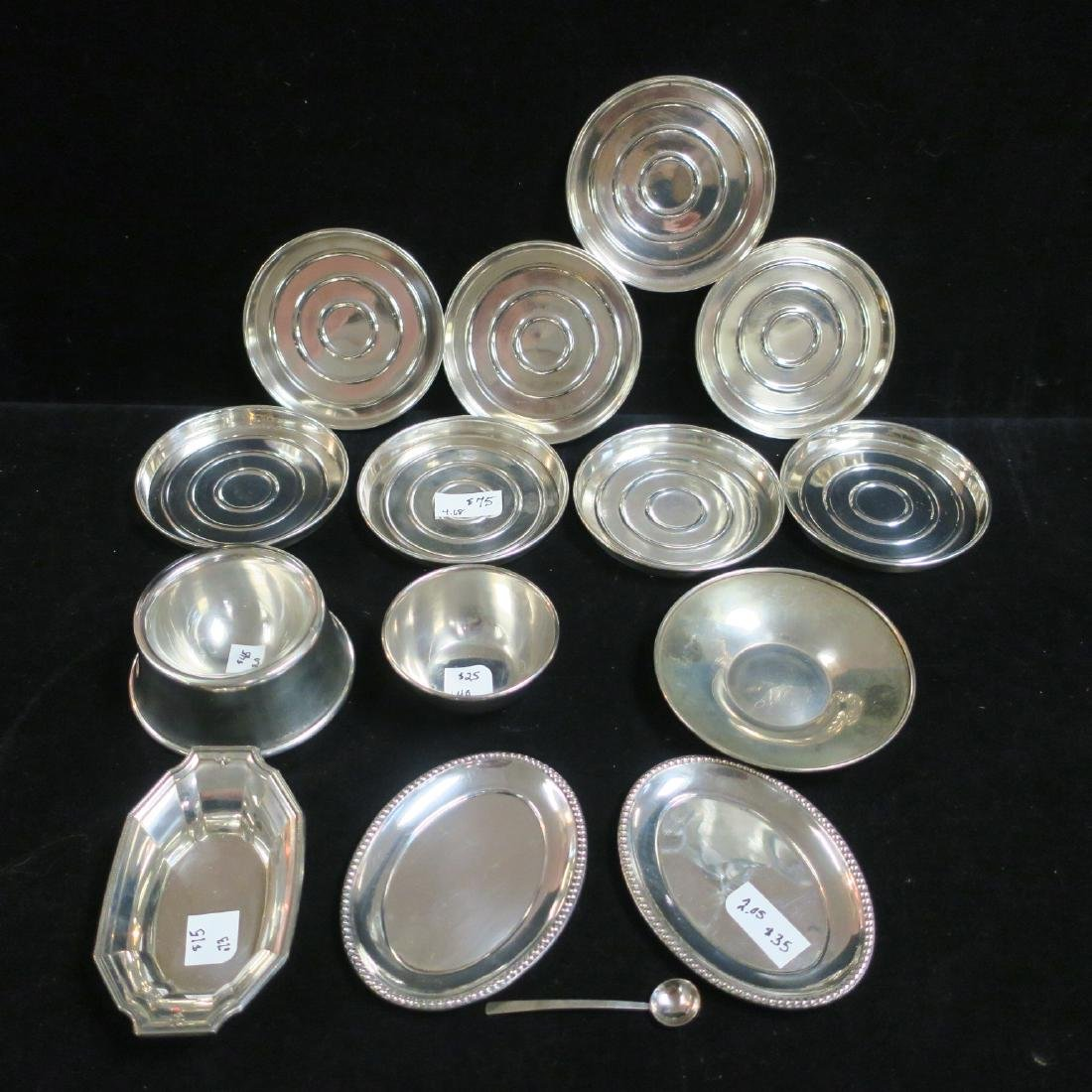 Sterling Assorted Coasters, Nut & Salt Dishes, Spoon:
