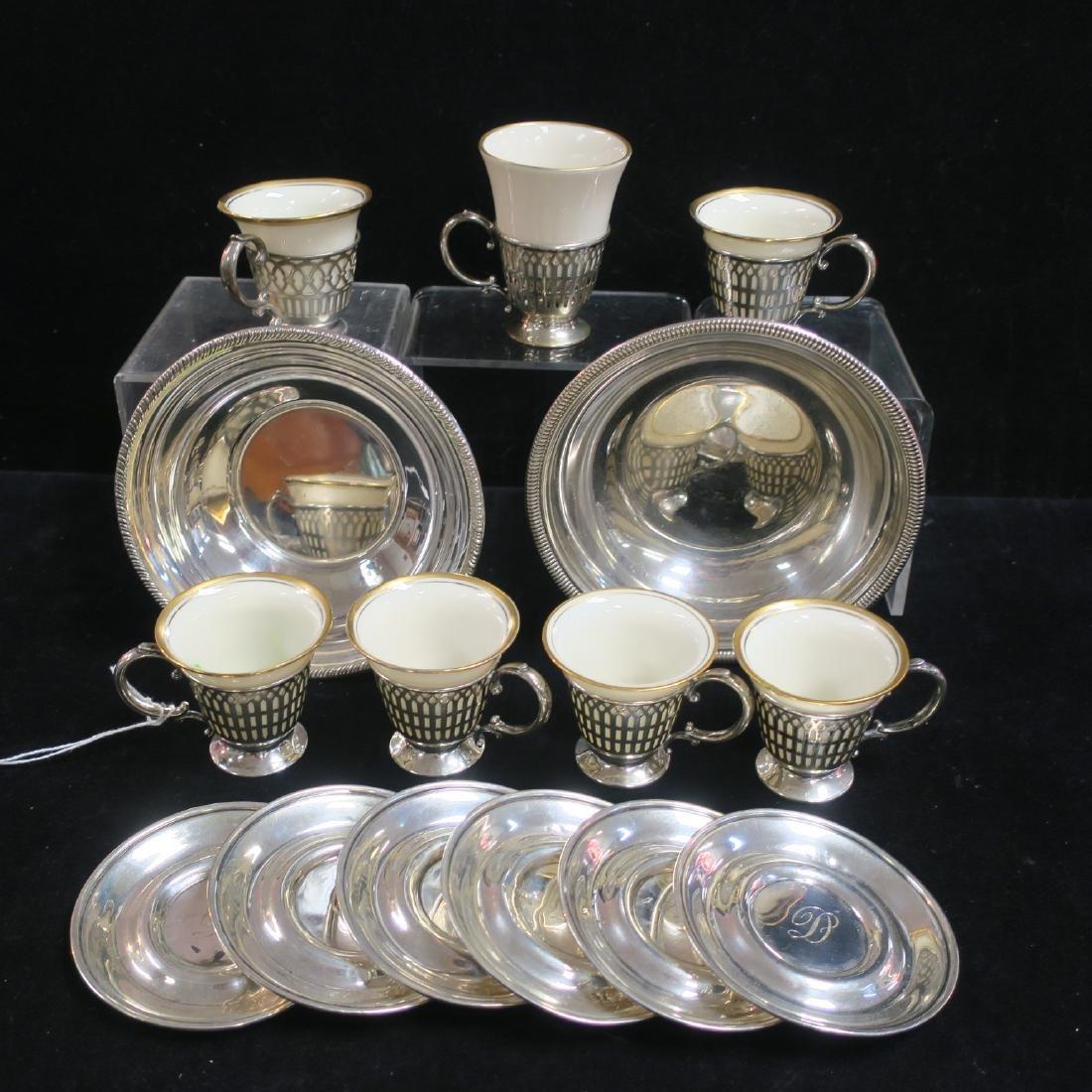 Seven Sterling Demitasse Cup Holders, Saucers & Bowls: