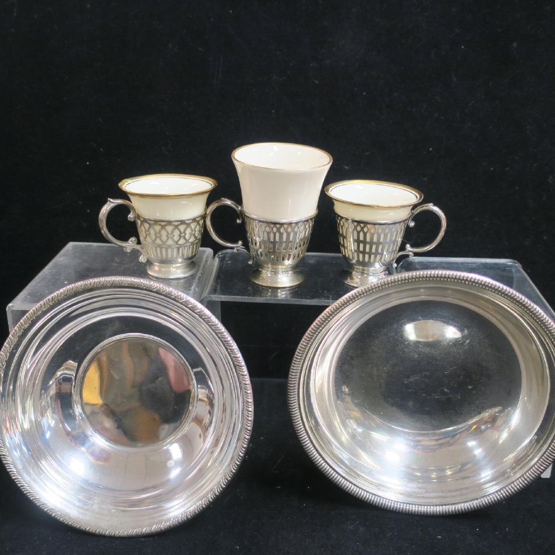Seven Sterling Demitasse Cup Holders, Saucers & Bowls: - 3