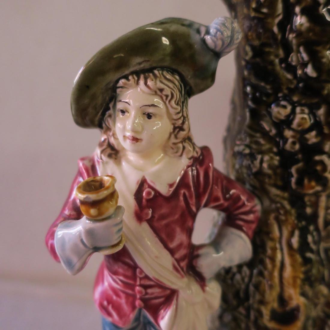 Pair of Majolica Figural Spill Vases: - 2