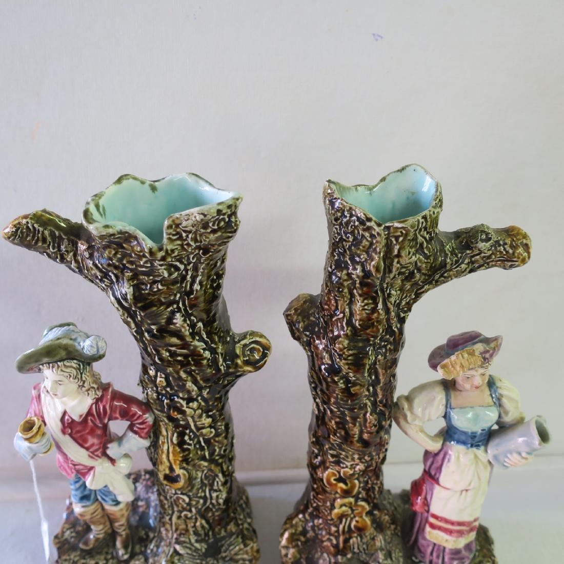 Pair of Majolica Figural Spill Vases: - 5
