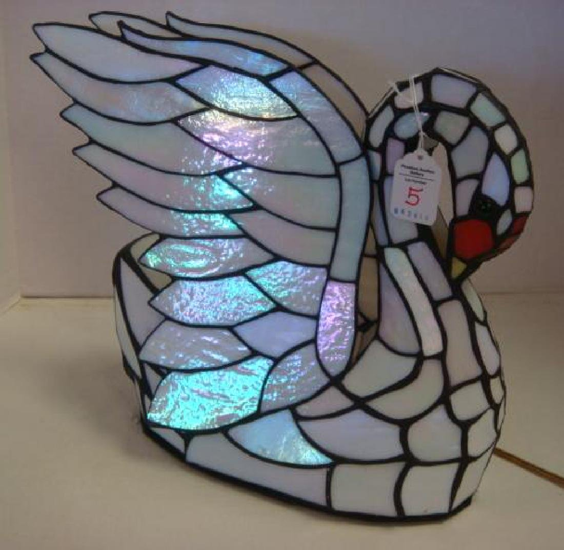 Slag Glass White Swan Lamp:
