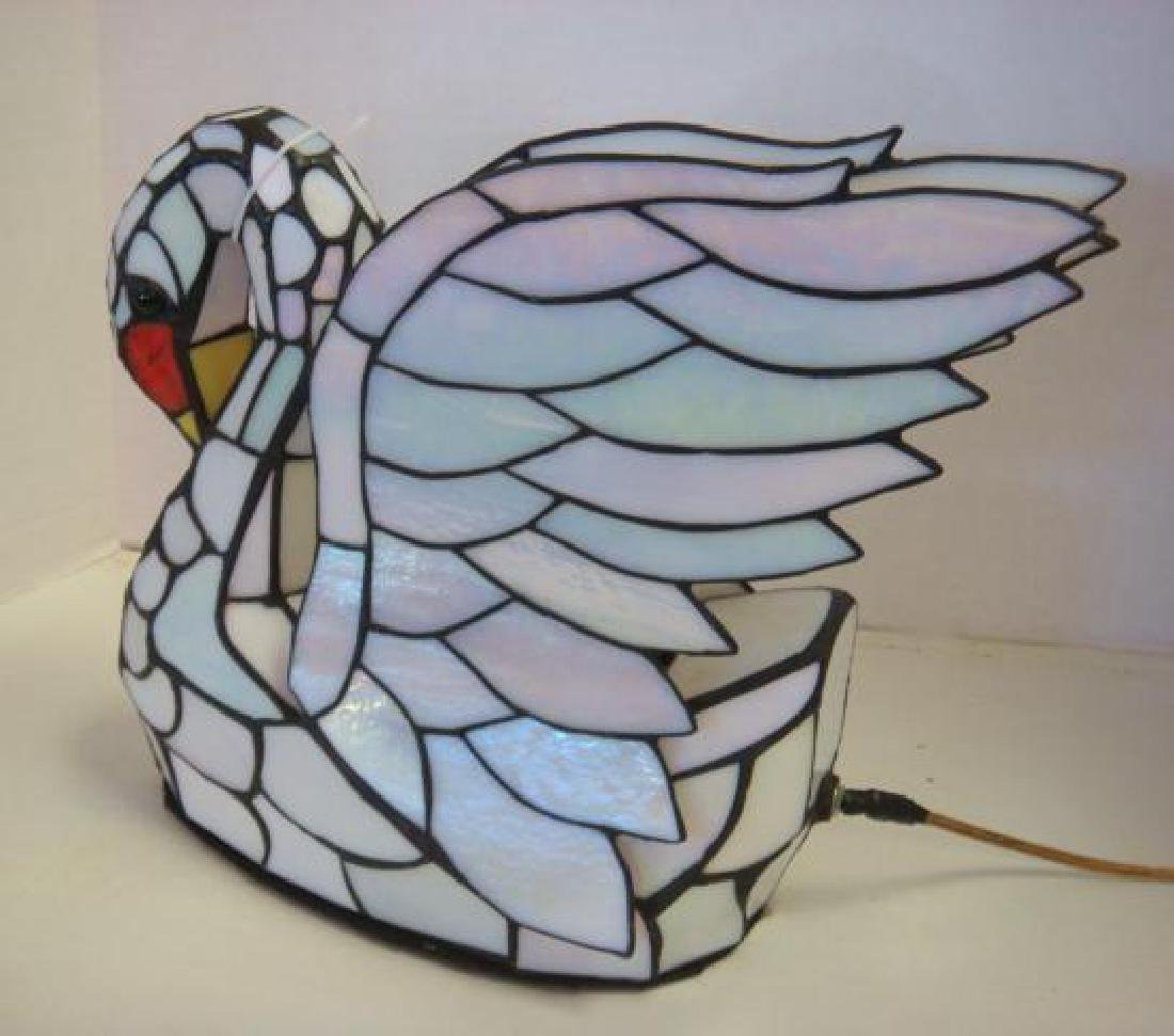 Slag Glass White Swan Lamp: - 2