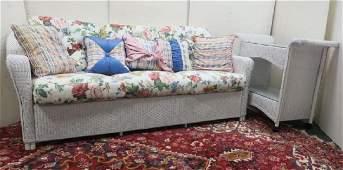 Six Cushion LLOYD LOOM White Sofa and Rolling Cart: