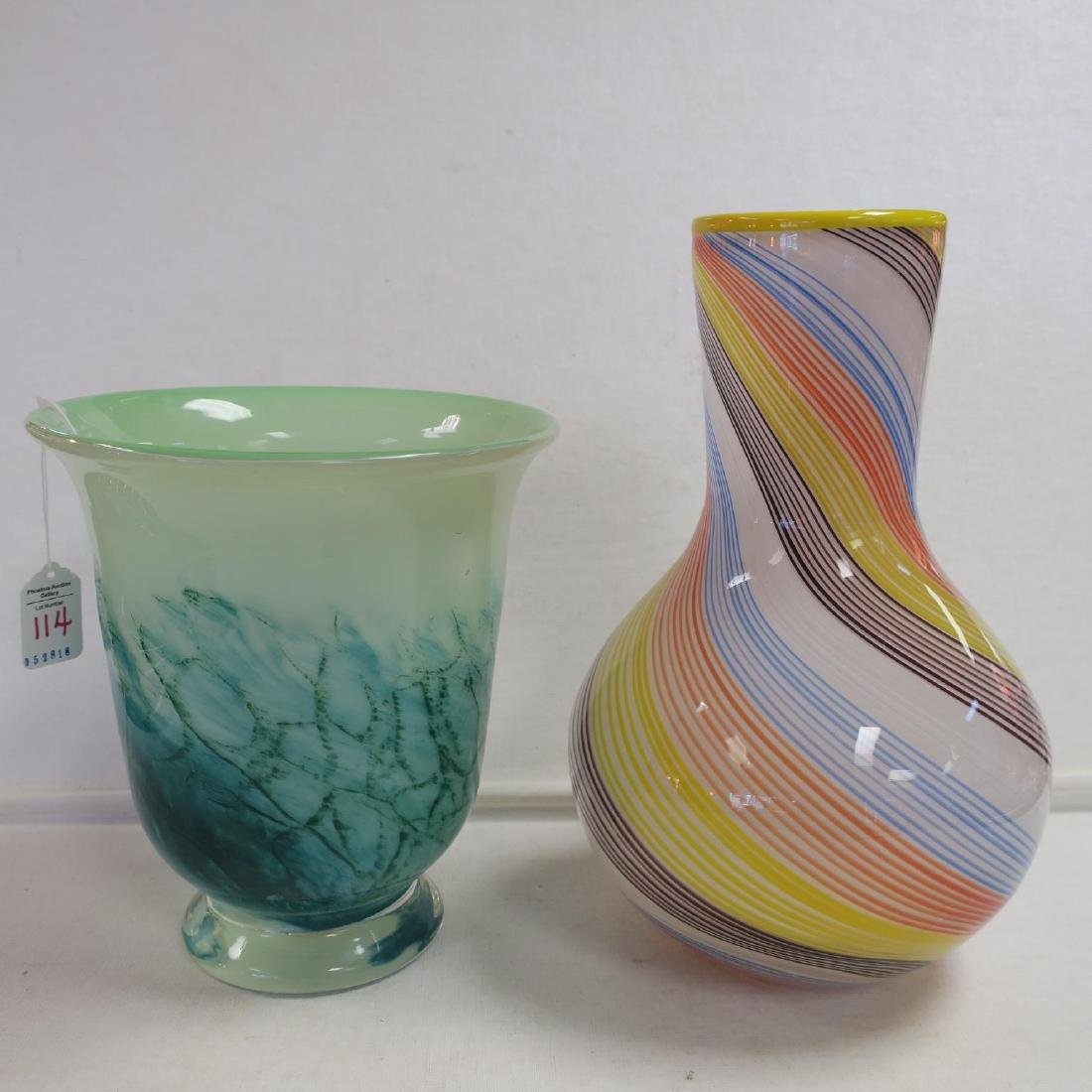 Two Art Glass Vases: