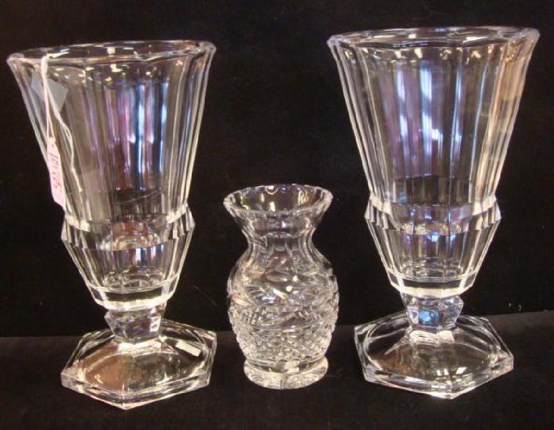 Two VAL SAINT LAMBERT Clear Crystal Vases, CA 1950: