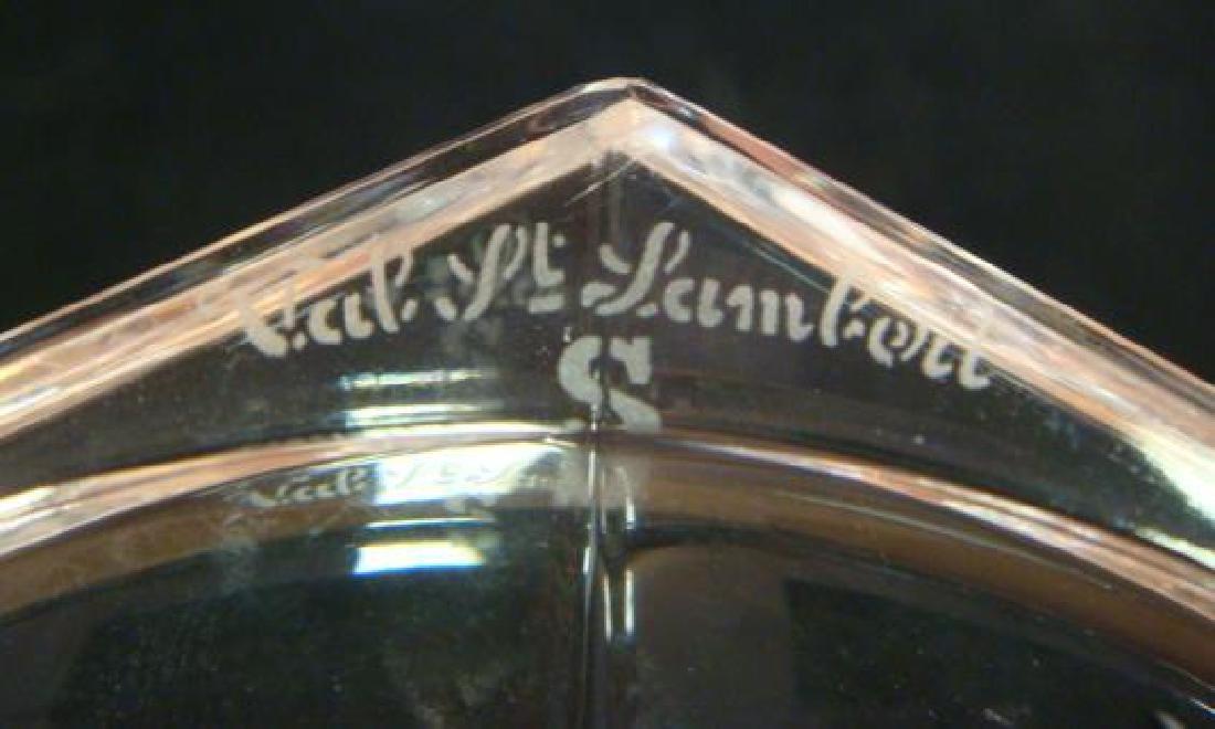 Two VAL SAINT LAMBERT Clear Crystal Vases, CA 1950: - 2