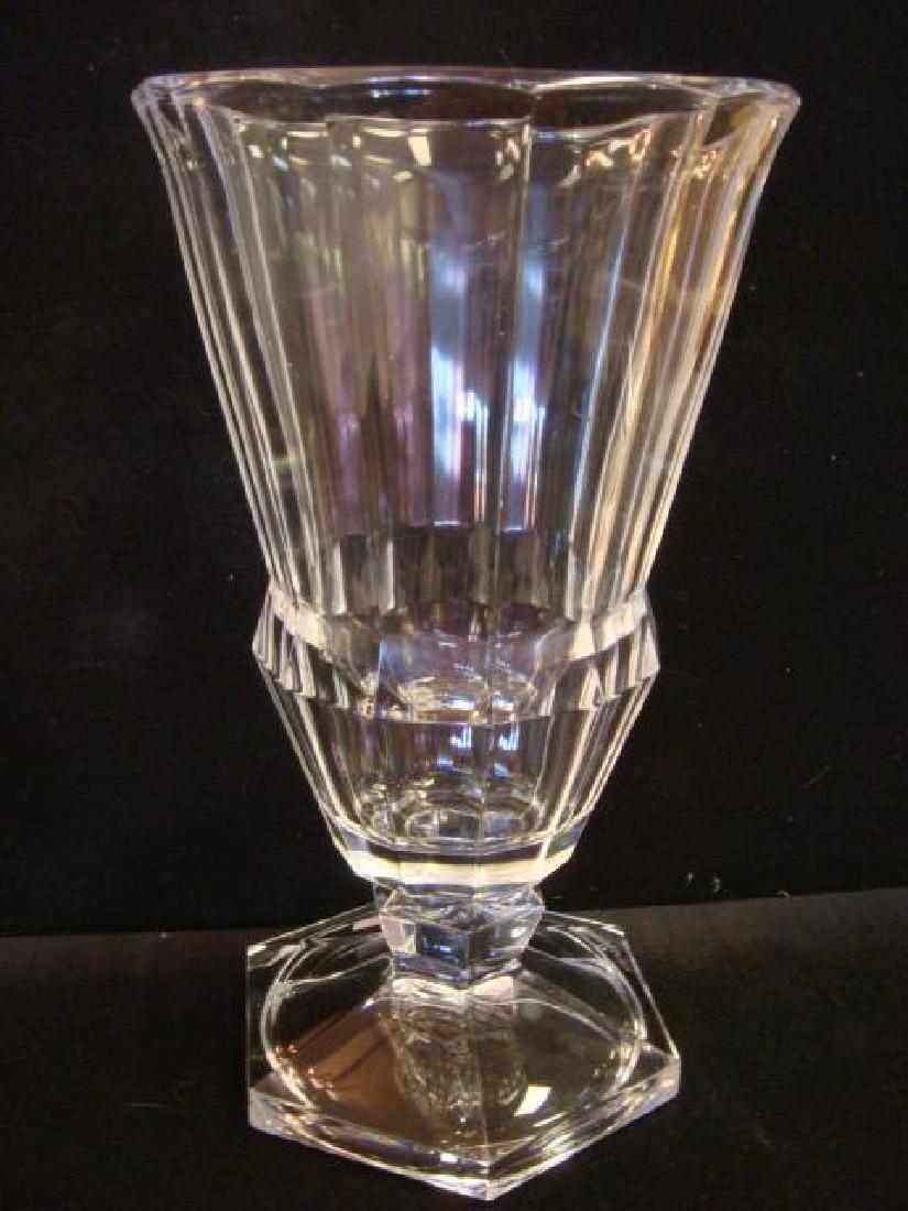Two VAL SAINT LAMBERT Clear Crystal Vases, CA 1950: - 4