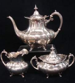 "Sterling Silver Reed & Barton ""Hampton Court"" Tea Set:"