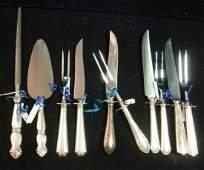 Four STERLING Carving Sets, Server & Knife Sharpener: