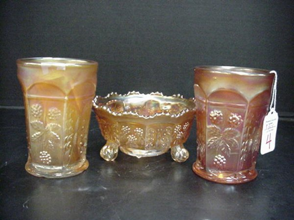 4: Fenton Carnival Tumblers and Sauce Bowl: T
