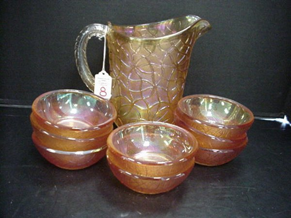 8: Carnival Dugan Pitcher & Imperial Bowls: D