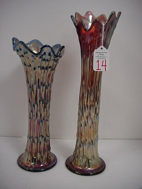 14: Two Northwood Tree Trunk Carnival Vases: