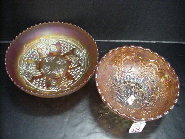 18: Two Marigold Carnival Grape & Cable Bowls