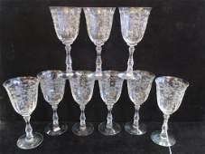 "Nine FOSTORIA ""Navarre"" Water Goblets:"