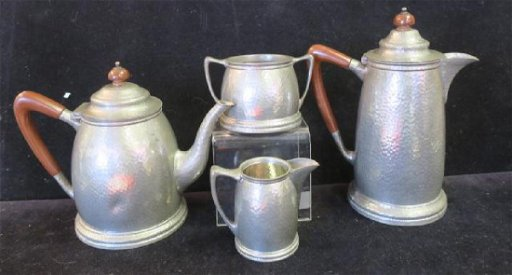 1930's HAMPDEN Hand Hammered Pewter Coffee/Tea Set: