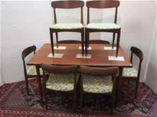 Mid Century Modern Danish Teak 8 Piece Dining Set: