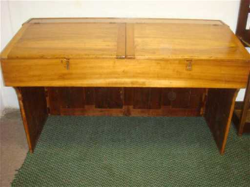 - Antique Pine Plantation Desk With Double Lift Top: