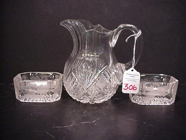 306: Cut Crystal Cream Pitcher/Two Master Sal