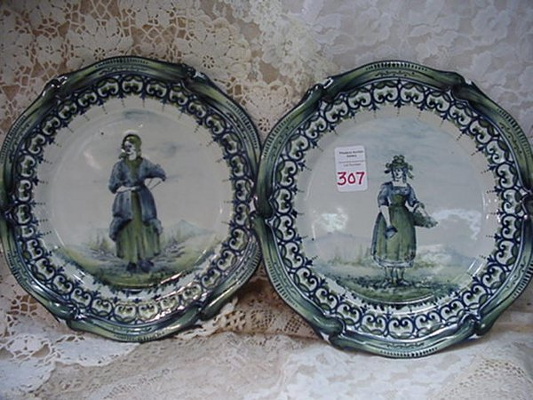 307: Three Handpainted French Faience Plates: