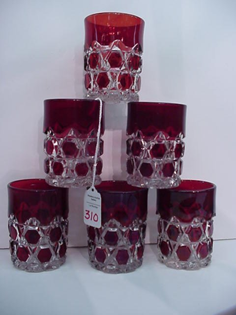"310: 6 Ruby and Clear Button Tumblers: 4""T Cy"