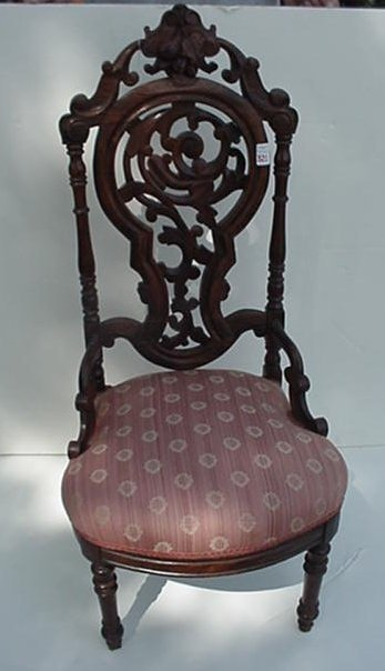 321: Ornate Victorian Carved Side Chair: Waln