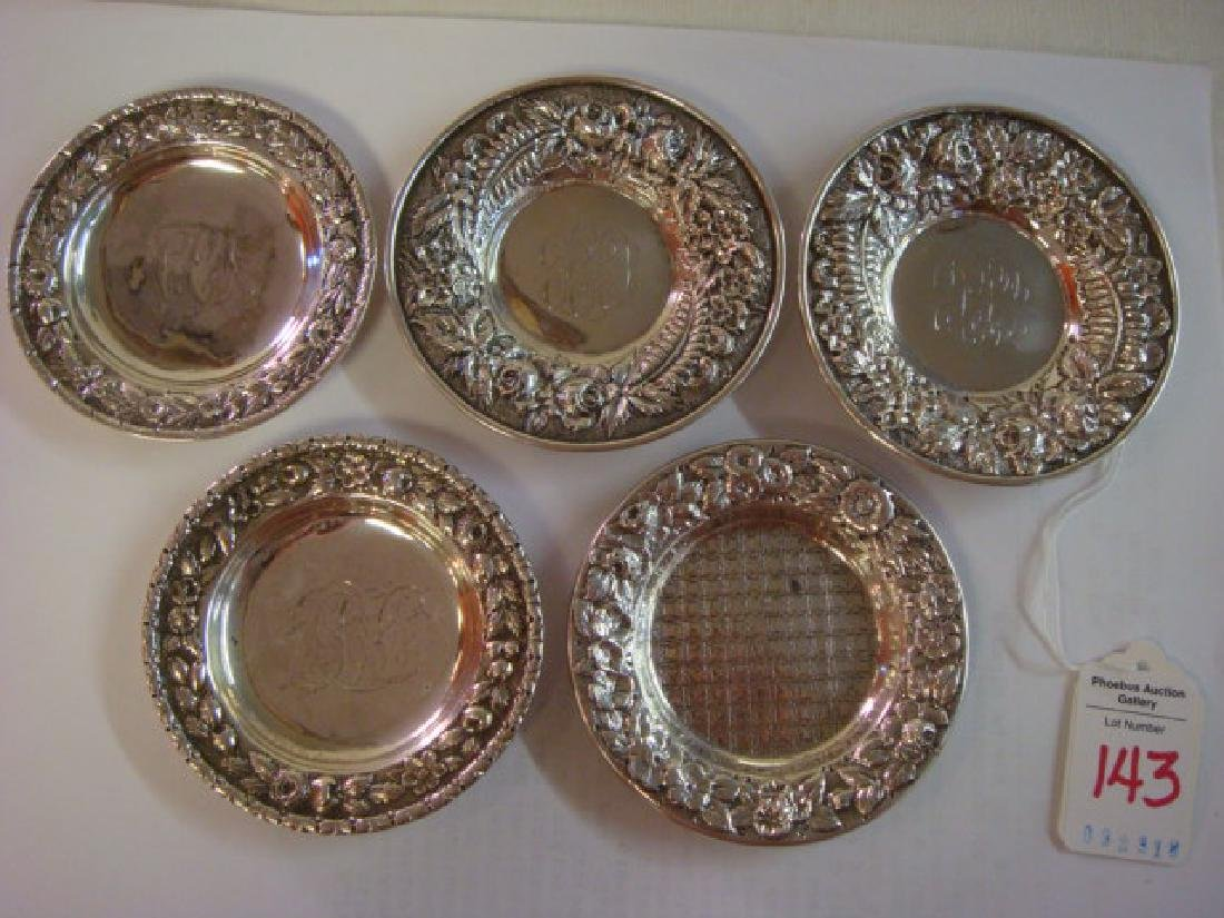 Five Sterling Silver Butter Pats: