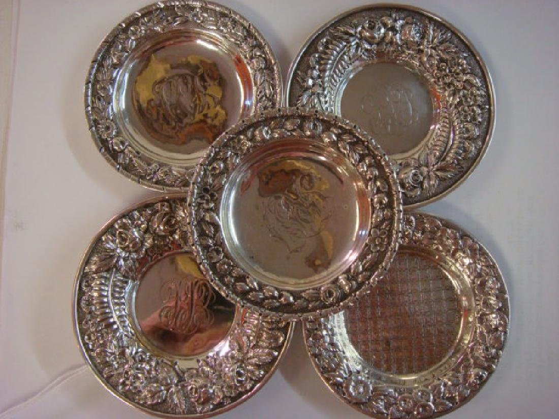 Five Sterling Silver Butter Pats: - 4