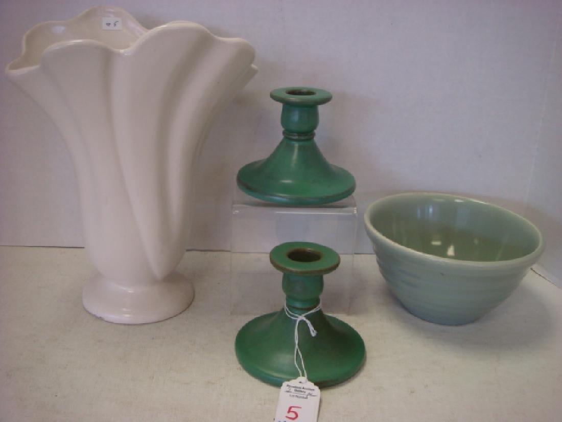 Rare Pair of Catalina Island Pottery Candlesticks: