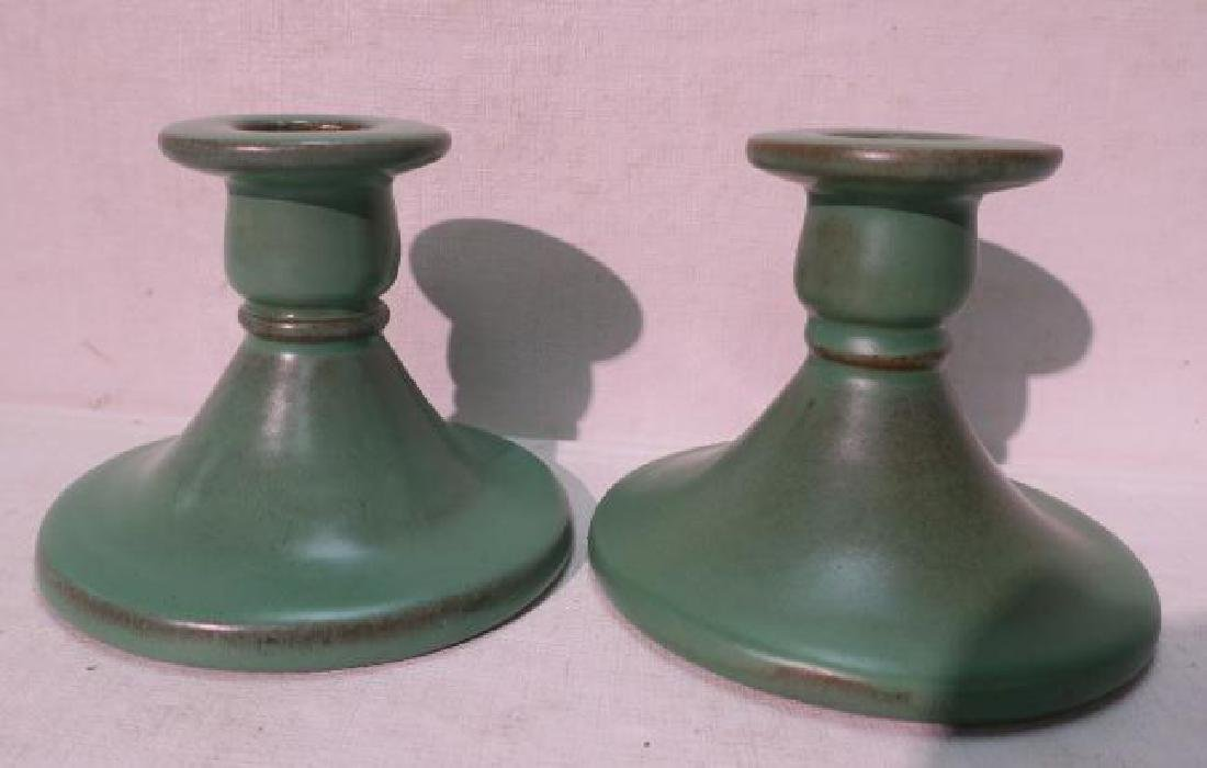 Rare Pair of Catalina Island Pottery Candlesticks: - 4