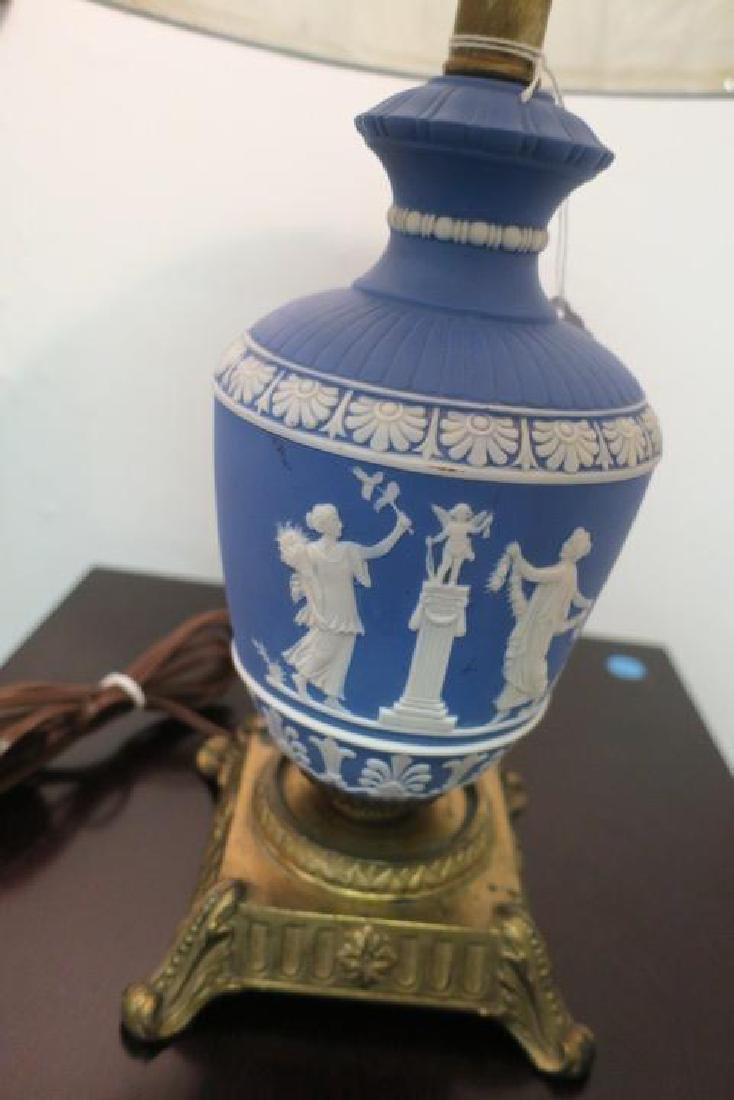 Vintage WEDGWOOD PORTLAND Blue Jasperware Table Lamp: - 2
