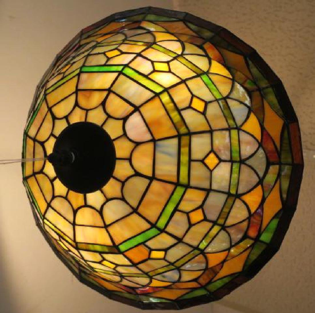 Leaded Glass Hanging Lamp: - 2
