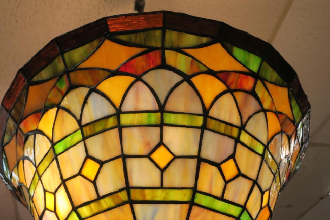 Leaded Glass Hanging Lamp: - 3