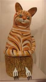 Mixed Medium Clay Tiger Cat by BARBARA KOBYLINSKA:
