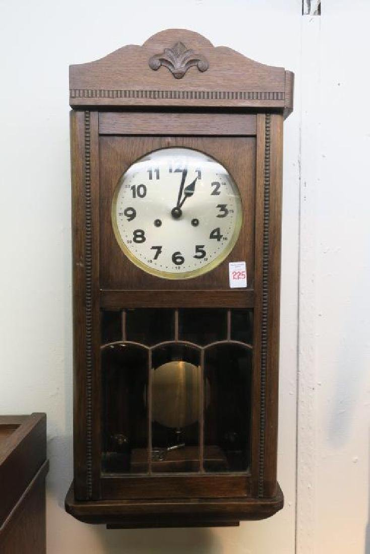 Oak Wall Clock with Key and Pendulum: