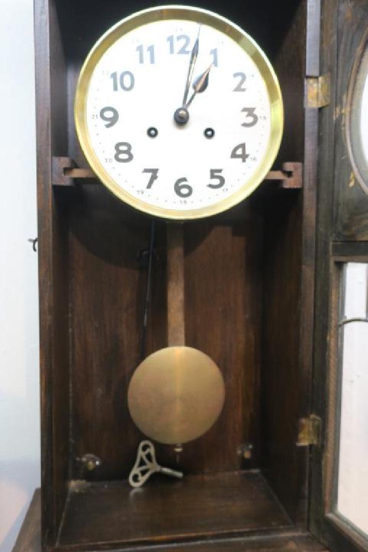 Oak Wall Clock with Key and Pendulum: - 3