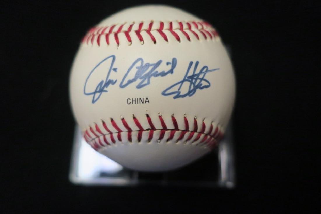 JIM CATFISH HUNTER Autographed Baseball: