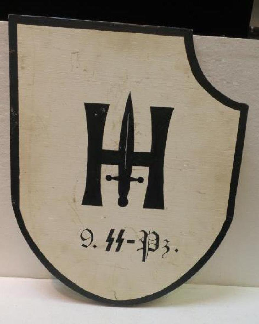 Wooden Headquarters Sign for 9 SS PANZER DIVISION: