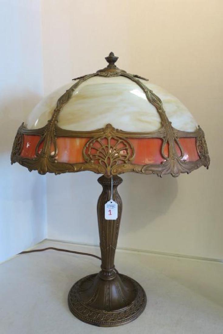 Vintage 6 Panel Slag Glass Table Lamp: