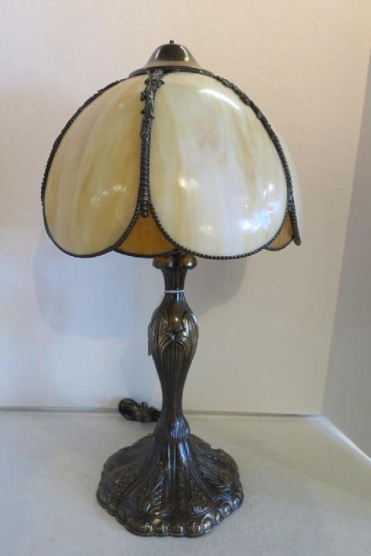 Metal Base Lamp with Domical Petal Slag Glass Shade: