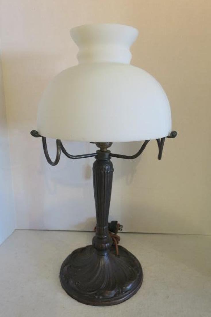 Vintage Table Lamp with Glass Dome Shade: