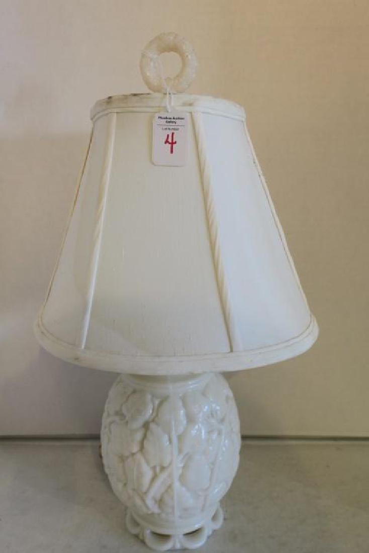 Leaf Pattern Milk Glass Table Lamp, Wreath Finial: